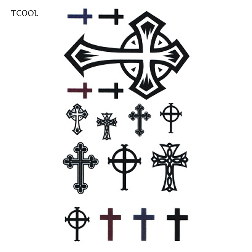 HXMAN Cross Temporary Tattoos Waterproof Women Fashion Fake Body Art Arm Tattoo Sticker 10.5X6cm Kids Hand Tatoo AB-017