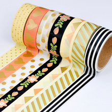 8pcs Cute pink heart color washi tape set Dots Flower Stripe 15mm masking decoration scrapbooking stickers Stationery A6467