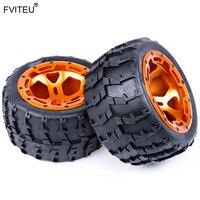 FVITEU CNC Metal Wheels Tires Set For 1/5 FG Rovan BM Monster Truck RC Car