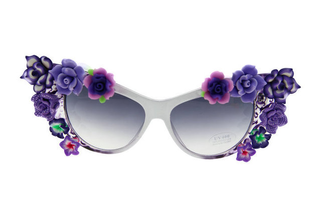 Горячие продажи новая мода пляжные солнцезащитных очков фиолетовые цветы  кошачий глаз Для женщин Солнцезащитные очки для 8100acf23db