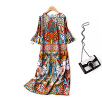 100% Silk Printed Dress Women Vintage Dress Plus Size High quality Silk Dresses Women Natural Silk 2019