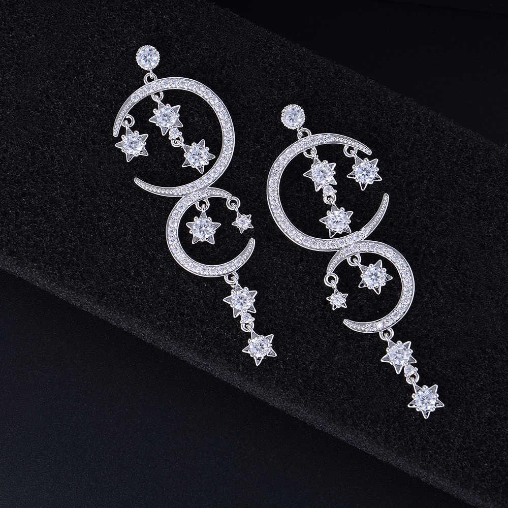 Серебристые длинные сережки с бахромой и лунными звездами для женщин, свадебные украшения
