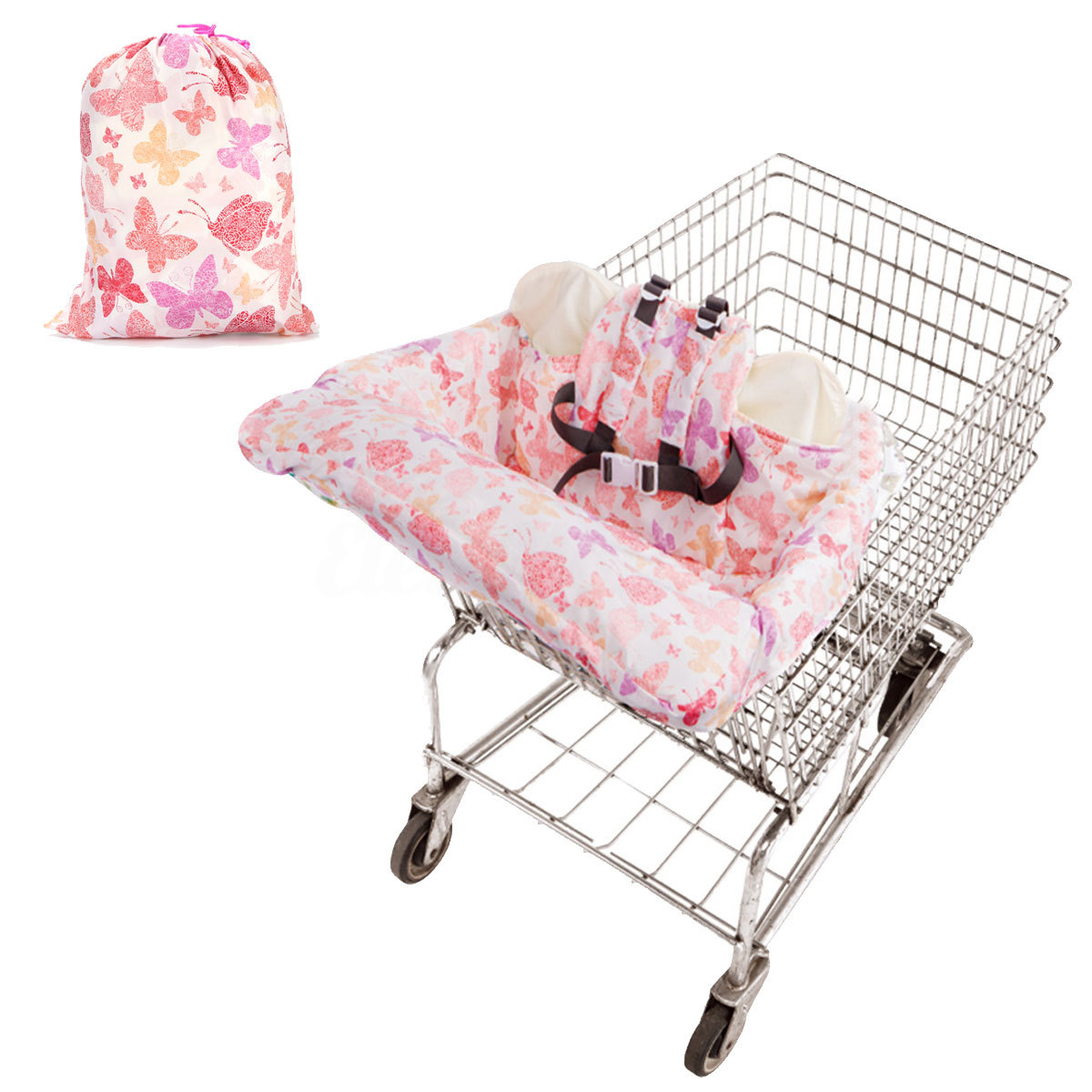 Foldable Baby Shopping Cart Baby Seat Cover with Safety Belt Protection Cover Tr