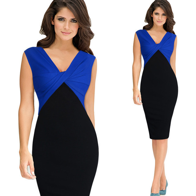 703ff5b3ac3 Top Quality Summer Dress 2018 Black Blue Red Hit Color Patchwork Tunic  V-Neck Office Dress Women Sheath Bodycon Pencil Dress