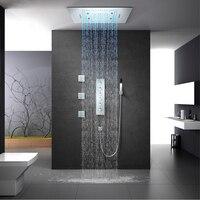 Осадков Светодиодная насадка для душа Большой водопад насадки для душа Мисти термостатический Ванная комната смеситель для душа потолка 60*