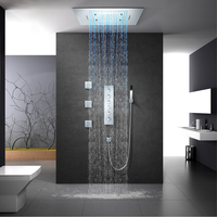Rainfall LED Showerhead Large Waterfall Shower Heads Misty Thermostatic Bathroom Shower Faucet Ceiling 60*80cm Shower Spay Jets