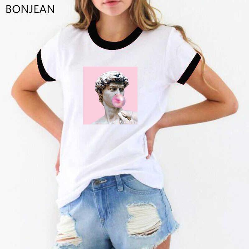 T-shirts drôles femmes t-shirt esthétique David Michelangelo BubbleGum Statue t-shirt femme vaporwave t-shirt rétro femme t-shirt