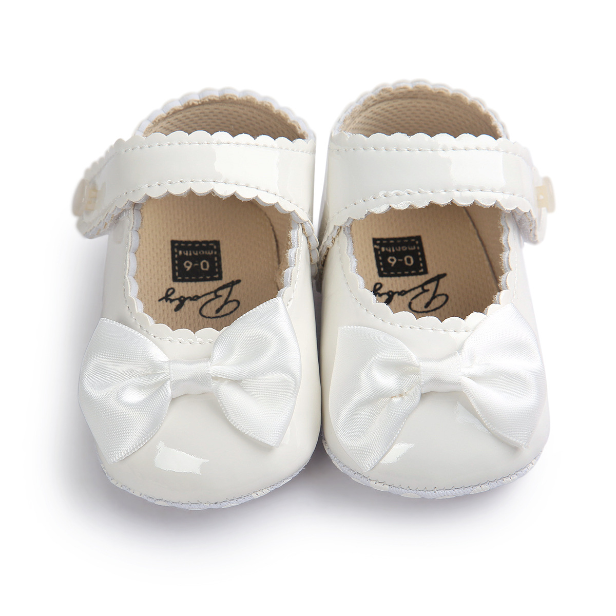 White Baby Shoes Princess Bow Girl Baby Toddler Shoes PU Leather Casual Soft Non-slip Newborn Shoes First Walker
