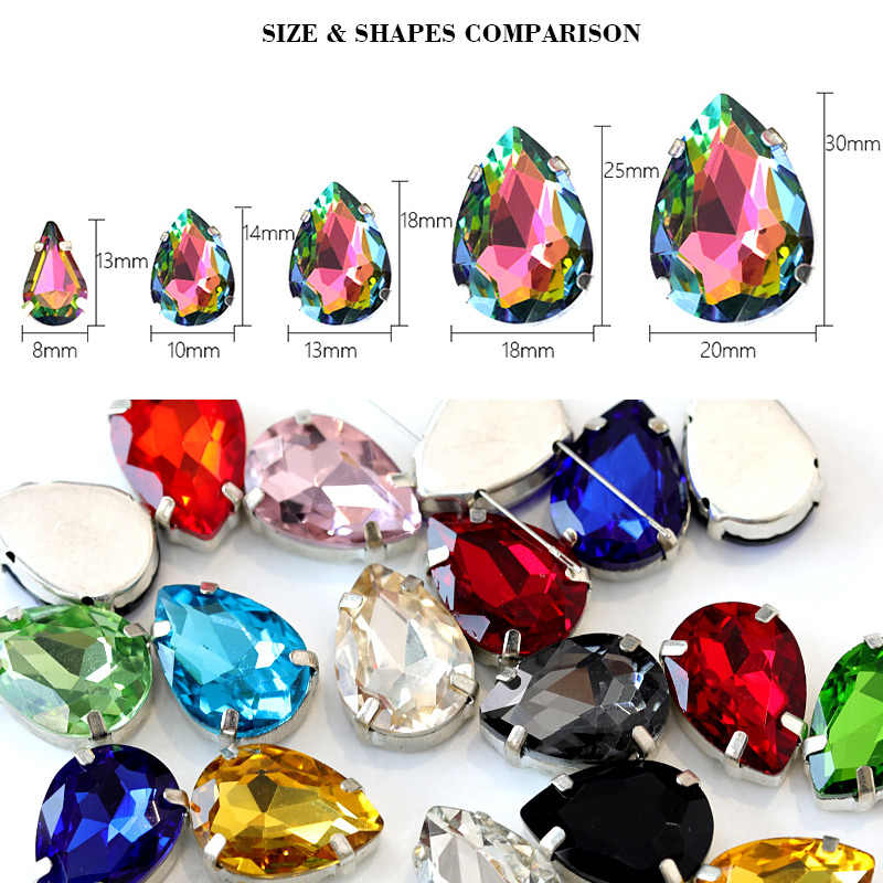 30 cores 5 tamanhos de cristal de vidro costurar em strass prata garra lágrima flatback waterdrop costurar na garra strass para saco b0335