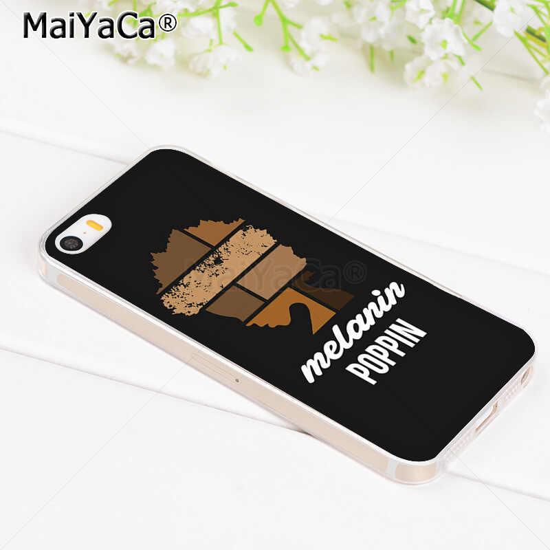 MaiYaCa Thời Trang Vàng Hắc Tố Poppin Đen trong suốt TPU Ốp lưng điện thoại cho iPhone 8 7 6 S Plus X 5 5S SE 5C Bao