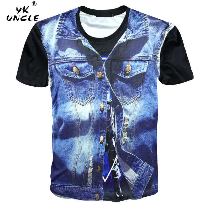 YK UNCLE Brand Cool T-shirt Men/Women 3d T shirt Print Europe America Jeans Jacket Short Sleeve Summer Tops Tees Tshirt Fashion
