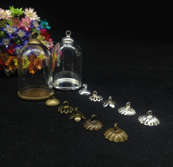 100sets/lot 30*20mm Empty Tube Bell Jars Glass Globe Classic Base Beads Cap Glass Vial Pendant Fashion Necklace Glass Cover Dome