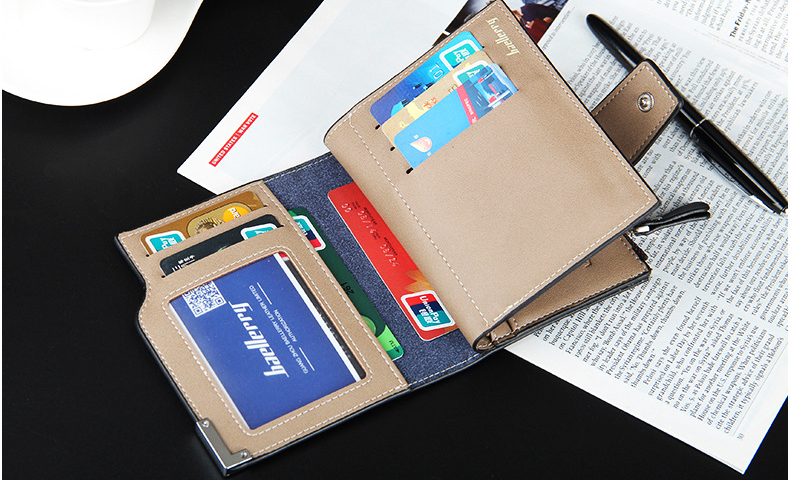 Leather Multifunction Men Wallets Zipper Pocket Trifold Purse Card Holder Hasp Wallet Zipper Purse brown one size 11