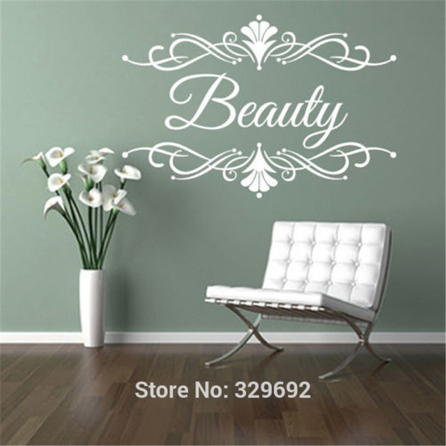 Beauty salon spa custom business name wall art stickers decal diy home decoration wall mural with diy deco salon
