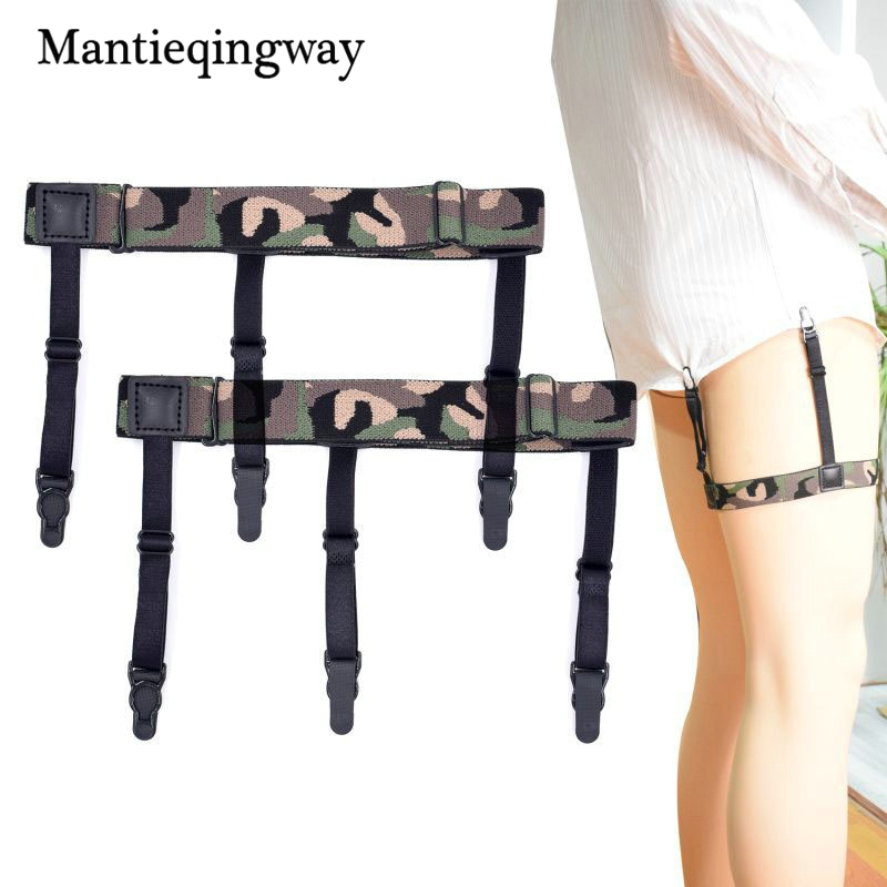 Camouflage Print Shirt Stays Garter For Mens Suspenders Braces Business Casual Elastic Shirts Suspensorio Belt