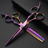 6inch Professional Hairdressing Scissors Japan440c Cobalt Alloy Steel Hair Scissors for Barbers Cutting & Thinning Scissors Set