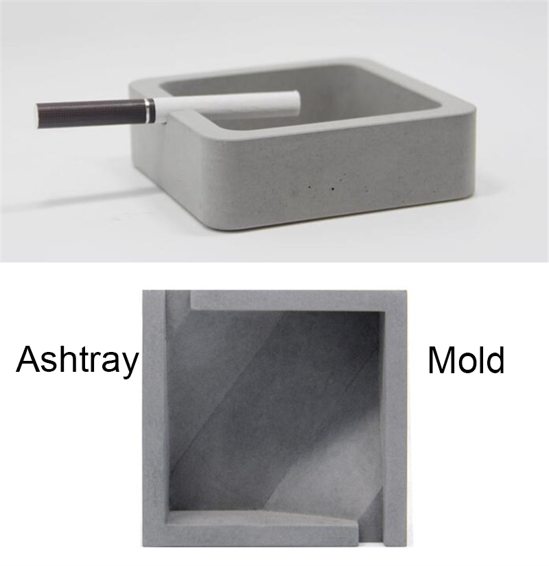 Square shapes concrete ashtray silicone molds clay crafts for Concrete craft molds