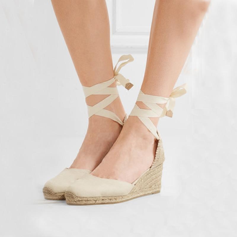 36c8448b103 US $27.07 5% OFF|Teahoo Women Espadrilles Wedge Sandals Ankle Strap Summer  Canvas Platform Wedges Fashion Lace up Women Platform Sandals-in High Heels  ...