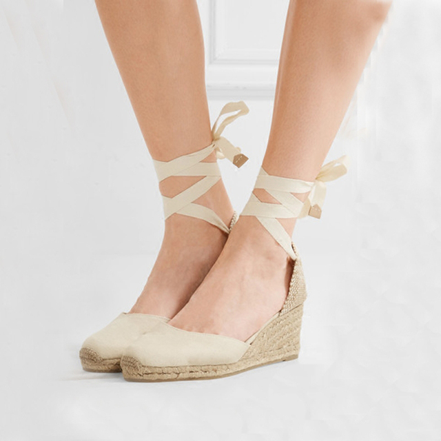 1bcdd9c793c7 Teahoo Women Espadrilles Wedge Sandals Ankle Strap Summer Canvas Platform  Wedges Fashion Lace up Women Platform Sandals