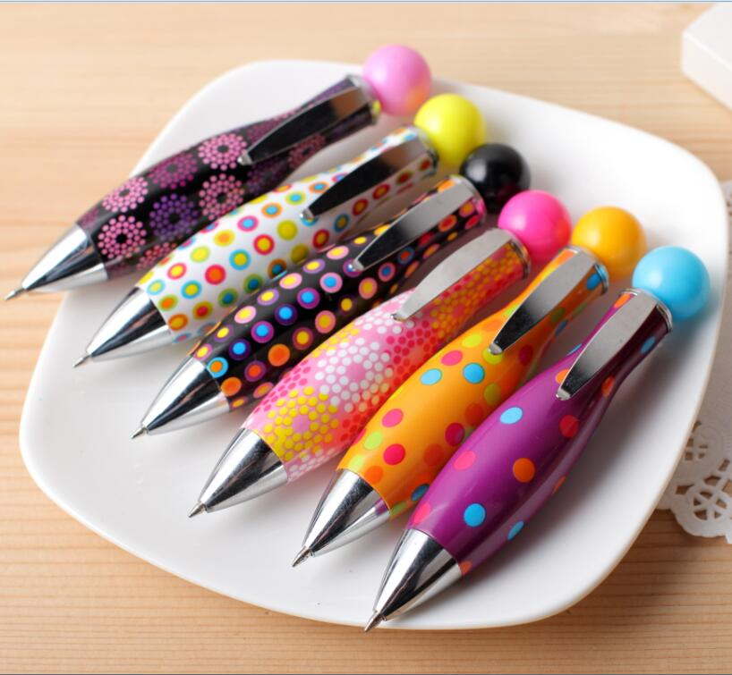 48pcs lot Style pen creative stationery mini bowling ball fat short ballpoint pen 0 5mm blue
