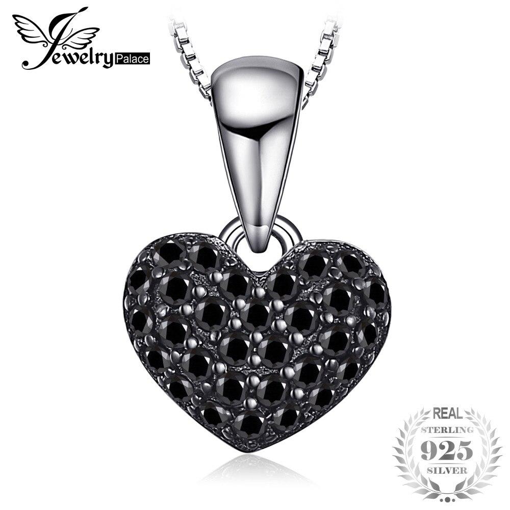 JewelryPalace Mode 0.28ct Naturel Spinelle Noir Amour Coeur Pendentifs Pour Femmes Solide 925 Sterling Bijoux En Argent Sans Chaîne