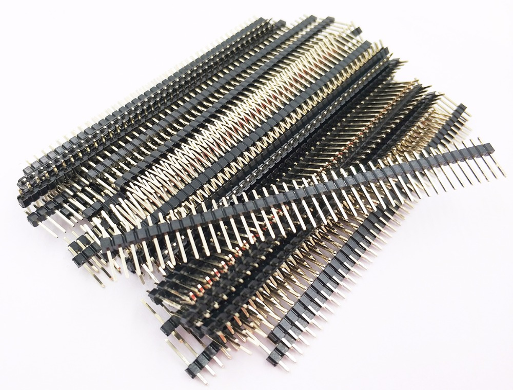 10pcs 2.54mm Pin Header Single Row Straight Rohs Goldplated 1X40P L11.34mm 0.1Breakable Male Header Bread Board Strip Connector10pcs 2.54mm Pin Header Single Row Straight Rohs Goldplated 1X40P L11.34mm 0.1Breakable Male Header Bread Board Strip Connector