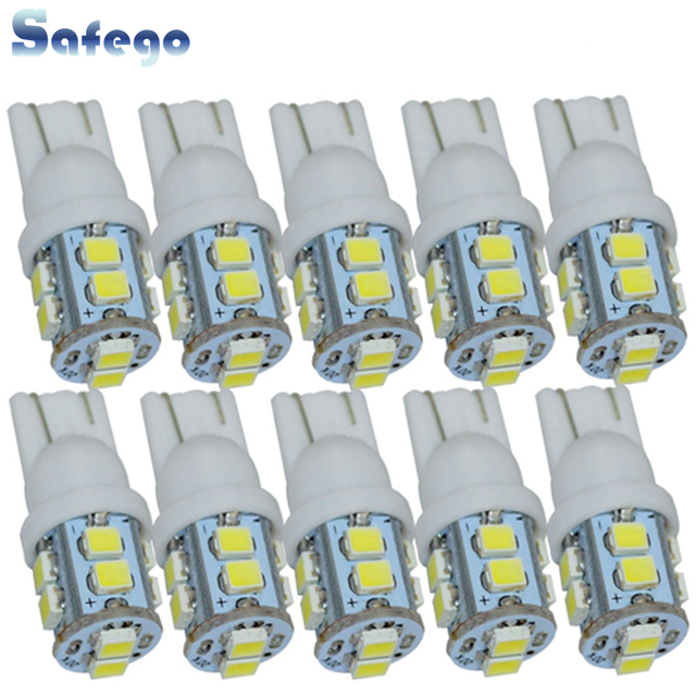 Safego 10 قطعة W5W T10 194 168 LED سيارة التخليص إسفين لمبات 10 SMD 1210 3528 سيارة الداخلية إضاءة مصباح خلفي أبيض 6000K تيار مستمر 12 فولت