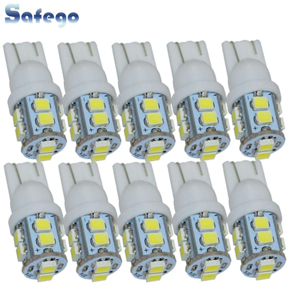 Safego 10 pçs w5w t10 194 168 led carro afastamento cunha bulbos 10 smd 1210 3528 interior do carro lâmpada luz da cauda branco 6000 k dc 12 v