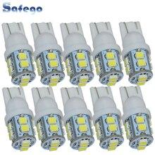 Safego 10 pièces W5W T10 194 168 LED voiture dégagement cale ampoules 10 SMD 1210 3528 voiture intérieur lampe feu arrière blanc 6000K DC 12V
