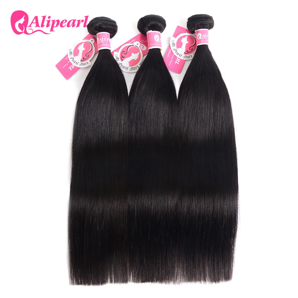 AliPearl Hair Peruvian Straight Hair Weave 3 Bundles Deal 100% Remy Human Hair Bundles 10 12 14 16 18 20 22 24 26 28 30 Inches(China)