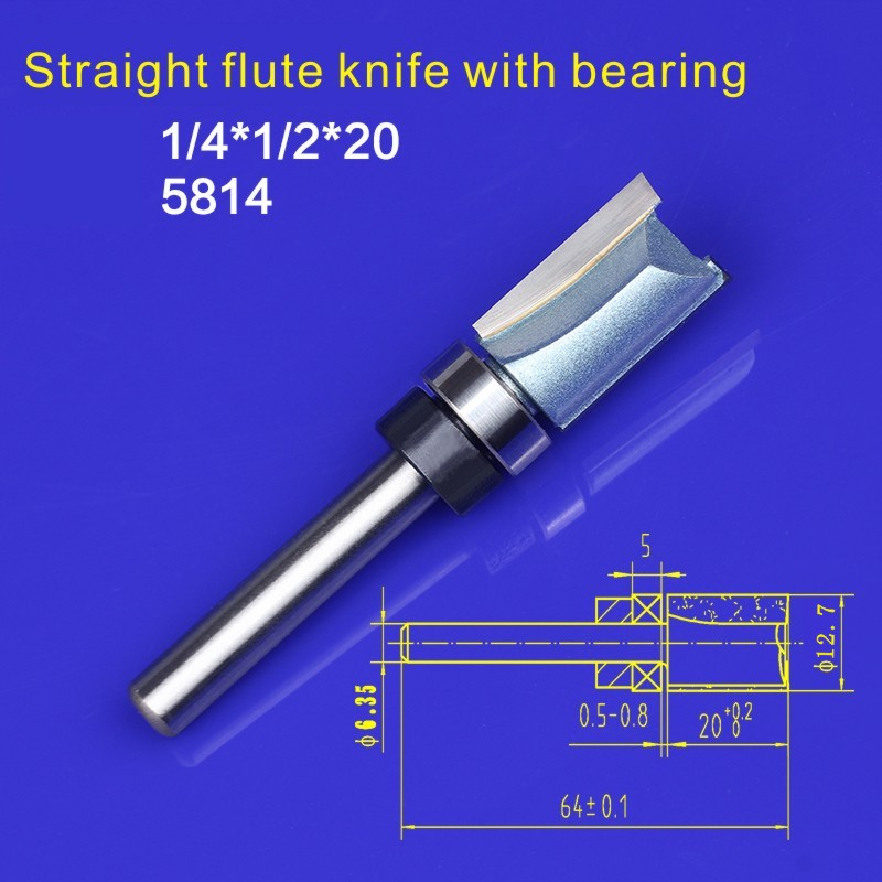 1pcs Flush Trim  Router Bit Shank Bearing 1/4 Shank Woodworking Milling Cutter Po lishing Head Tool 1/4 x 1/2inch*20mm  NO:5814 1 2 5 8 round nose bit for wood slotting milling cutters woodworking router bits