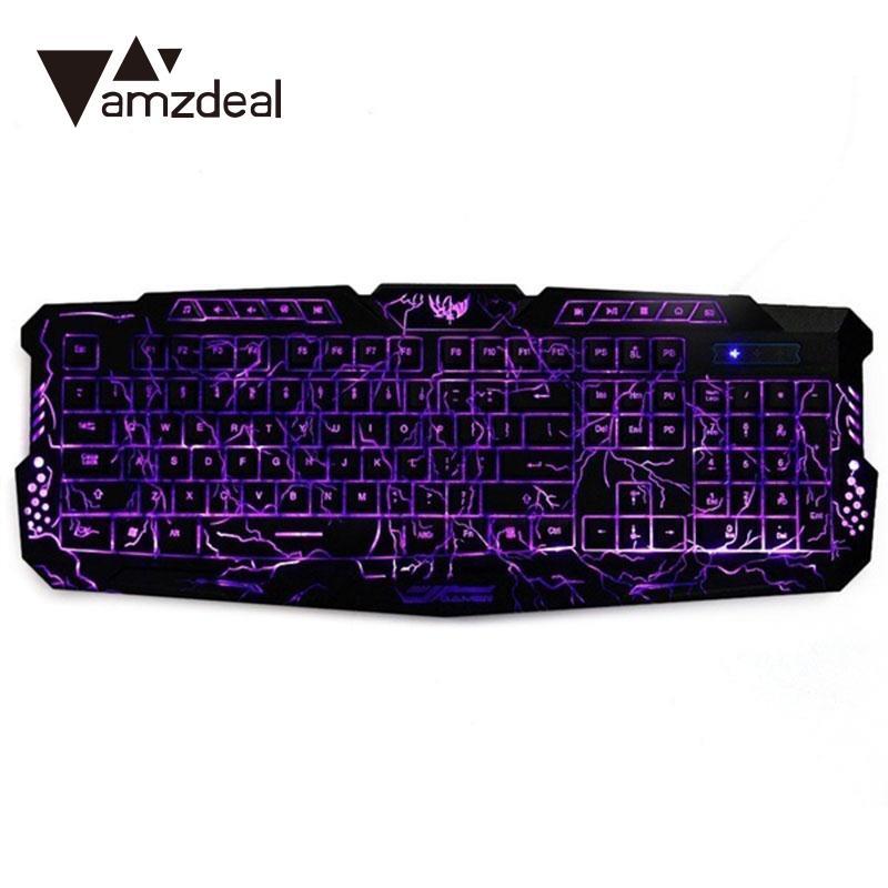 amzdeal New 3 Color Backlight Mechanical Gaming Keyboard LED Backlit Laptop Desktop Mechanical Keyboard