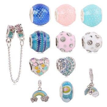 77656385ea81 Dodocharms plata Color amor moda amantes cuentas Fit Pandora Original Charm  pulsera joyería DIY mujeres regalo 12 pc lot