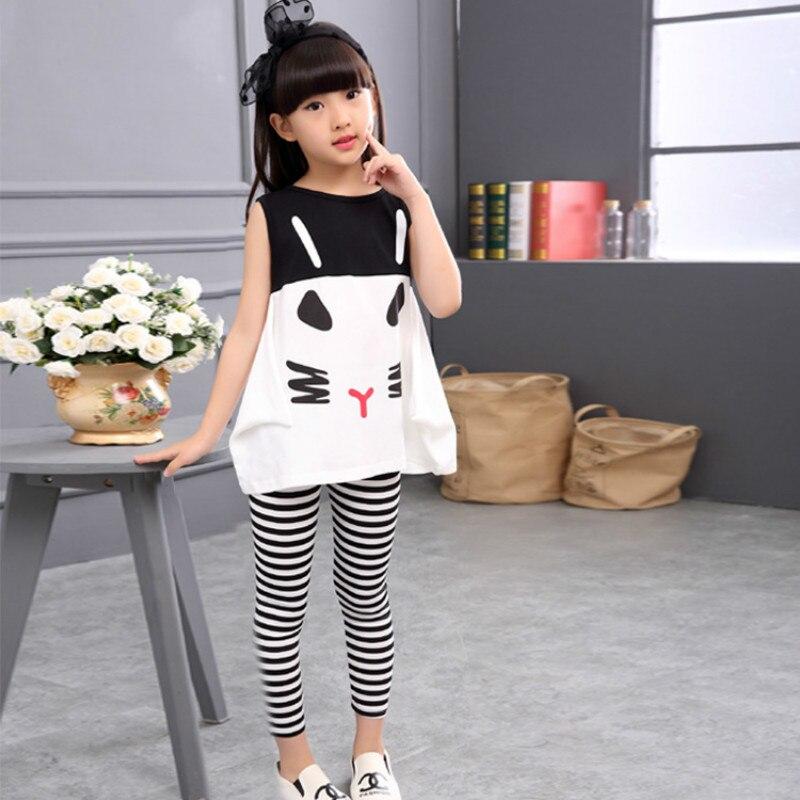 Okoufen 2019 roupas da menina do bebê terno corpo verão menina dos desenhos animados camisa + zebra listras calças terno crianças conjuntos de roupas