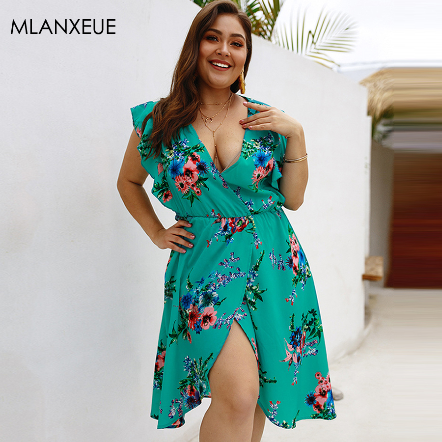 <font><b>Sexy</b></font> Deep V-neck Print <font><b>Dresses</b></font> Women Vintage Asymmetrical A-line Summer <font><b>Dress</b></font> Lady Bohemian Holiday Beach Robes <font><b>Plus</b></font> <font><b>Size</b></font> <font><b>Dress</b></font> image
