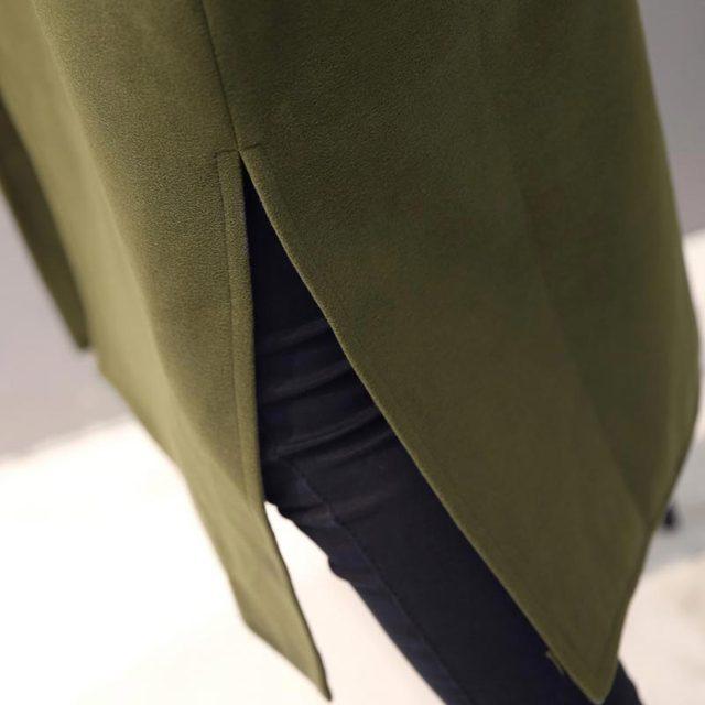 Over knee length woollen fashion Coat.  Green