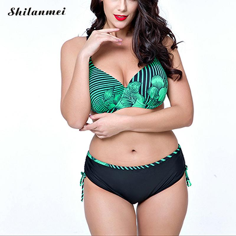 Bikini women large sizes plus size Printed sexy Bikini set Sexy style swimsuits Fashion beachwear Summer beach swimming Bikini