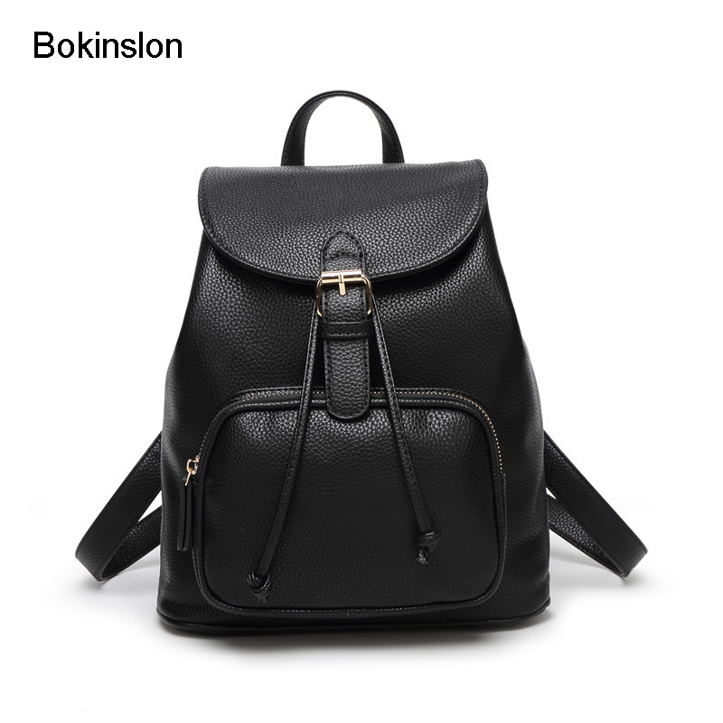 Bokinslon Bags Women Backpack Cow Split Leather Fashion Bag Backpack Woman Leisure College Wind Backpack Girl School bokinslon backpacks brand womens fashion classic retro women backpack bag college wind pu leather school girl backpack