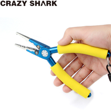CrazyShark Aluminum Fishing Pliers Split Ring Crimping Sleeves And Leads Tungsten Carbide Cutters Holder Tackle With Sheath