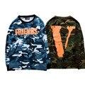Alta Qualidade Homens VLONE mangas Compridas Camisetas Amigos V Impressão Camuflagem TEES Kanye Hip Hop Camisolas Exército Militar Vlone tops