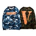 High Quality Men VLONE Long sleeves T-Shirts Friends V Print Camouflage TEES Sweatshirts Army Military Kanye Hip Hop Vlone tops