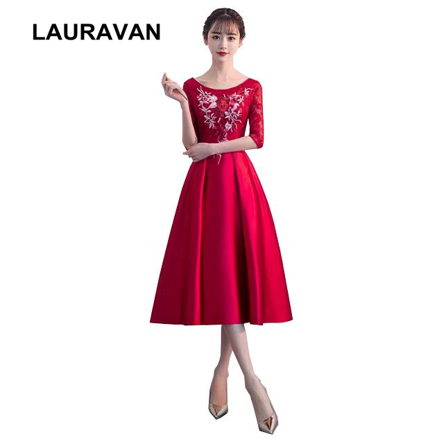 latest elegant prom formal short applique flower dress petite burgundy wine red dresses for women party ball gown with sleeves
