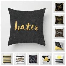 Fuwatacchi Geometric Triangular Cushion Cover Black Gold White Pillow Home Sofa Decorative Pillowcase Car
