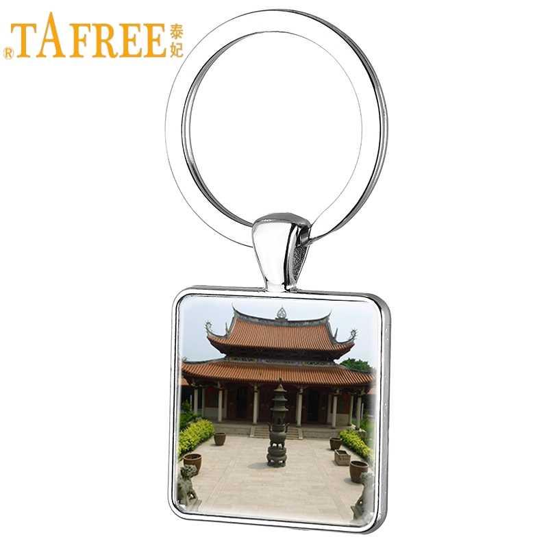 TAFREE O Mosteiro Shaolin Quadrado Chaveiro Chave Anel Homens Jóias Pendente Cabochon De Vidro Chinese Kung Fu SL12