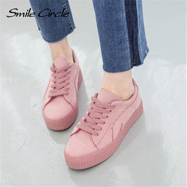 2017 Autumn Women Genuine Leather Casual Shoes Student Shoes Women Comfortable Fashion Lace-up Solid Color Shoes