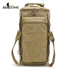 Top Multifunctional Sports Bag Climbing Backpack Canvas Bucket Tactical Molle Backpack Male Travel Hiking Rucksack Khaki XA202WD