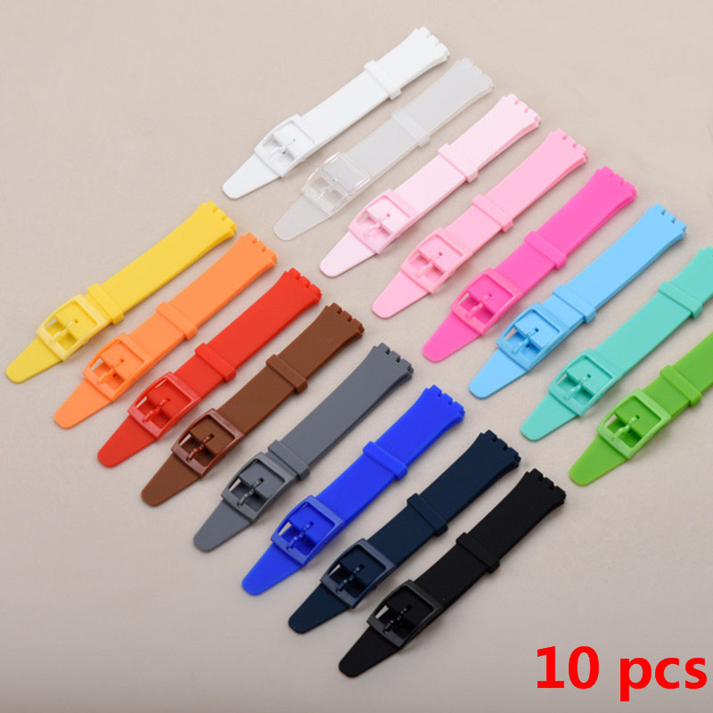 все цены на 10pieces / lot High Quality Black White Navy 16mm Silicone Rubber Watchband For watch Colorful Rubber strap plastic buckle