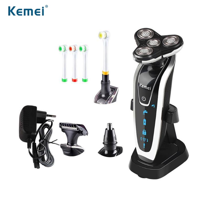 все цены на Kemei KM-5181 4 in 1 3D Floating Electric Shaver Rechargeable Shaving Razor Machine 4 Blades for Men Beard Nose Trimmer Washable онлайн