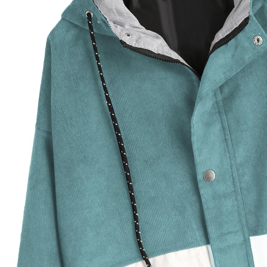 Long Sleeve Corduroy Patchwork Oversize Zipper Jacket Windbreaker coats and jackets women 28