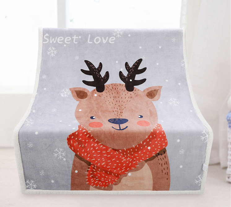 Baby Blanket Flannel Fleece 135*95cm Thick Animal Printed Knitting Air-Condition Swaddle Wrap Baby Toddler